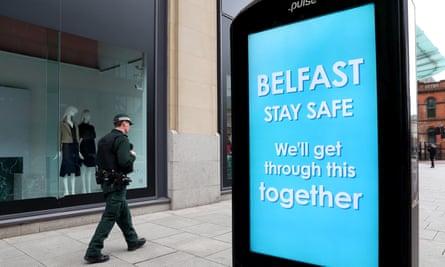 A PSNI officer on patrol in Belfast city centre.