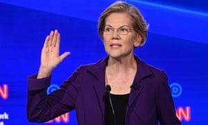 Elizabeth Warren speaks during the fourth Democratic primary debate in Westerville, Ohio.