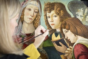 """London, EnglandEnglish Heritage Conservator Rachel Turnbull completes the conservation of """"Madonna of the Pomegranate"""", a painting revealed as a rare example by the workshop of Botticelli."""