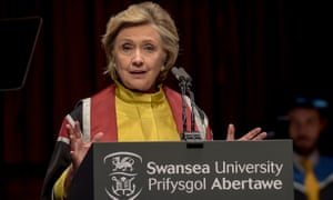 Hillary Clinton received an honorary doctorate at Swansea University in Wales on Saturday.