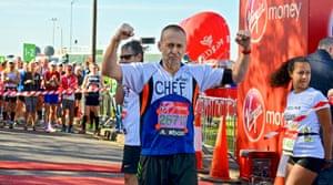 Michel Roux in in the 2014 London marathon.