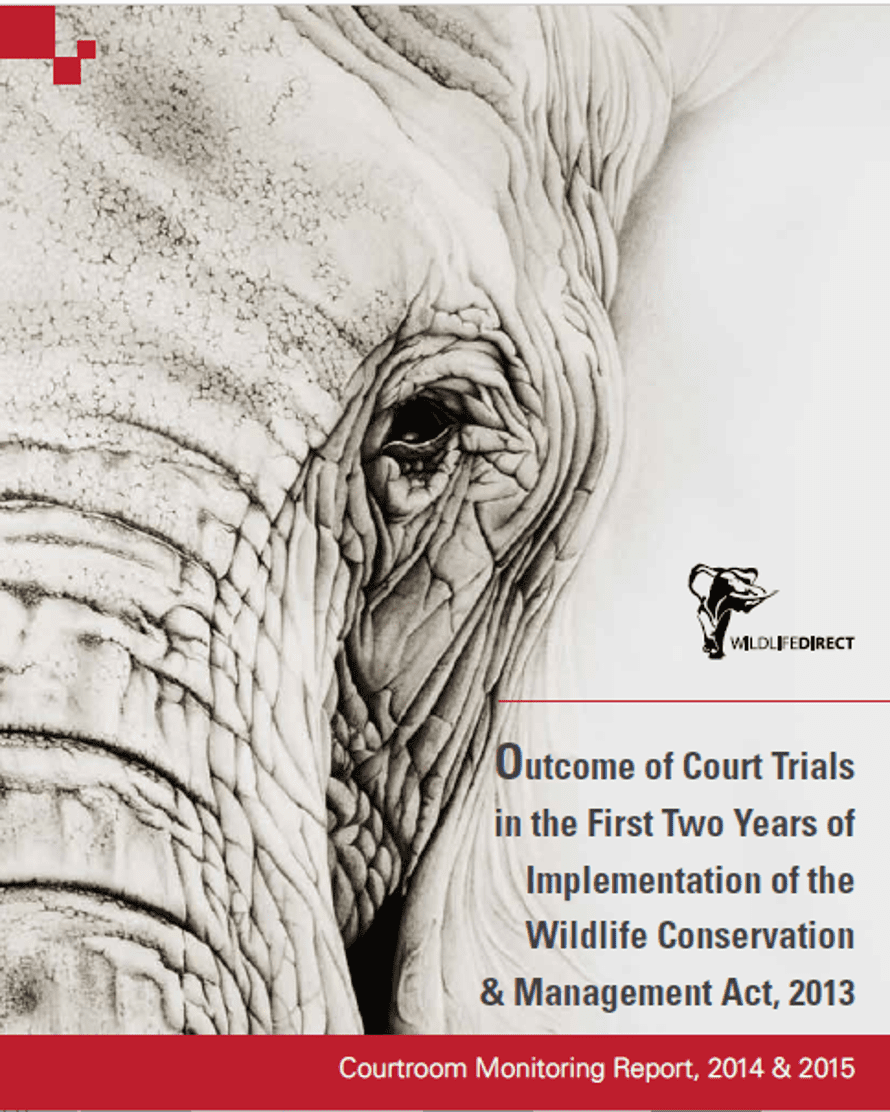 Cover of the courtroom monitoring report published by WildlifeDirect in May 2016.