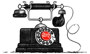 Illustration by David Foldvari of an old-fashioned phone with 'BlackBerry' written on it.