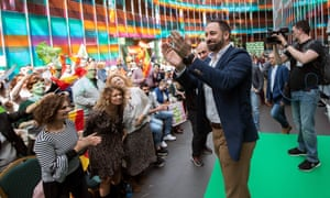 Santiago Abascal, leader of the far-right Vox party, delivers a speech during a campaign event in Vitoria on Sunday.