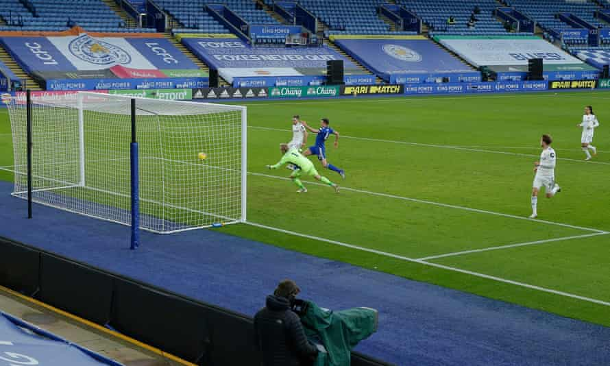 Jack Harrison scores the third goal for Leeds.