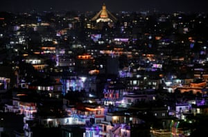 Houses are decorated with lanterns and lights in Kathmandu, Nepal