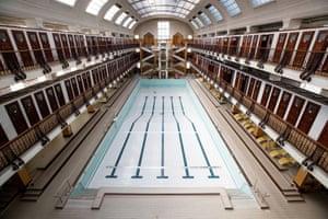 The empty Amalienbad public swimming pool in Vienna, Austria