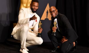 Moonlight's Tarell Alvin McCraney and Barry Jenkins at the 2017 Academy awards.