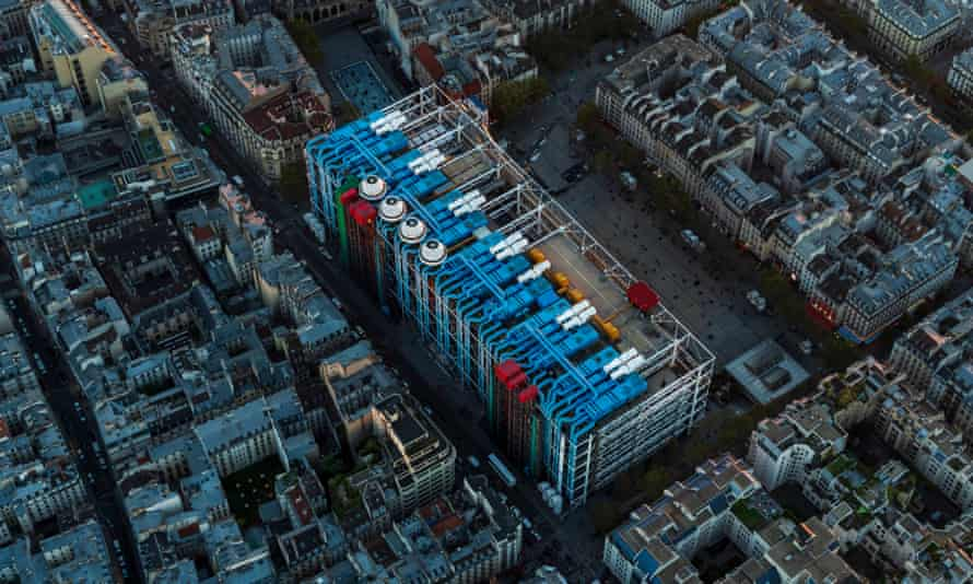 Aerial view of paris looking down at the Pompidou centre