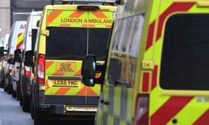 Paramedics and ambulance crews bring patients to the emergency department at the Royal London hospital in Whitechapel.