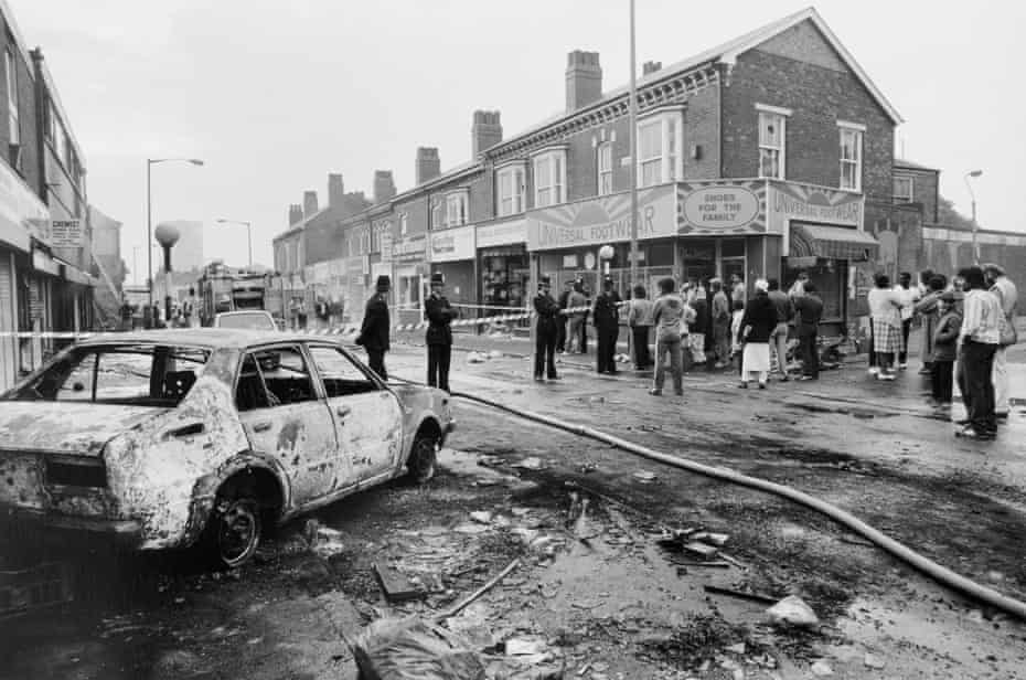 Disturbance in Lozells, Handsworth, where police brutality in the Black community reached its height. 1978.