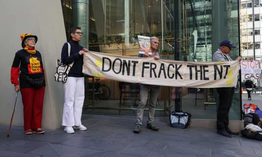 Environmental and Indigenous activists protest proposed fracking plans in the Beetaloo Basi