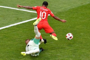 Raheem Sterling is proving to be a constant threat, with opportunities from clever through-balls. On this occasion, he tries to round the keeper and then fails to square the ball to his team-mates.