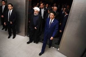 Tokyo, JapanThe Iranian president, Hassan Rouhani, and the Japanese prime minister, Shinzo Abe, arrive at a meeting