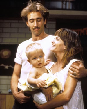 In Raising Arizona with Holly Hunter, 1987.