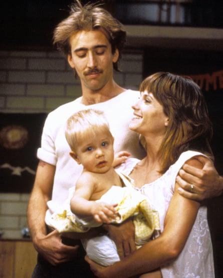 In Raising Arizona with Holly Hunter, 1987.