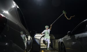 Rio de Janeiro: A clown at the Estoril circus, which is being performed in a new drive-in format