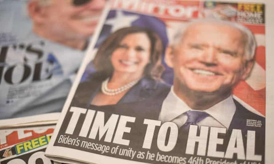 Joe Biden's victory in the US presidential election made headlines in the UK.