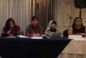 Estefani Sotoj Hernández, second from right, at a meeting of human rights activists in Honduras