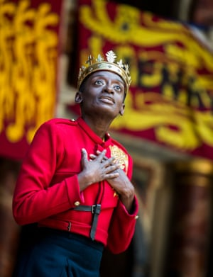 Sarah Amankwah in the title role of Henry V or Harry England at Shakespeare's Globe.