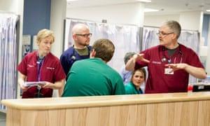 Medical staff on duty at Royal Stoke University Hospital.