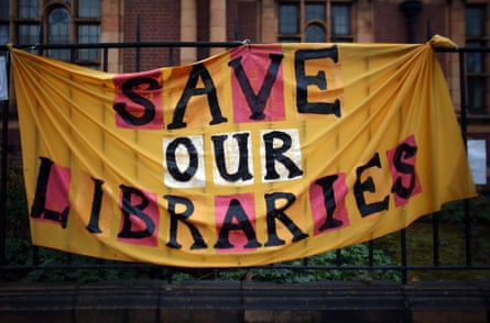 A banner protesting the closure of Carnegie Library, Lambeth, in 2016.