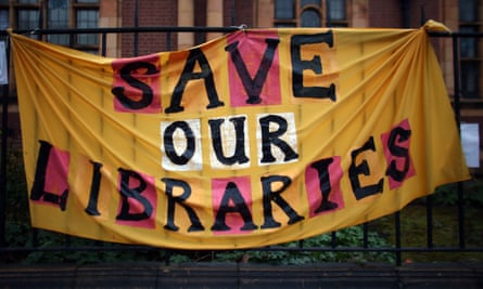 A banner outside Carnegie library in London.