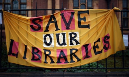 A banner outside Carnegie library in Herne Hill, south-east London.