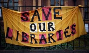 A banner hangs outside Carnegie library in London