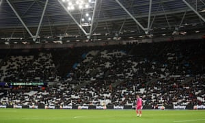 West Ham fans leave the defeat by Newcastle early. The crowd had turned on the team at half-time.