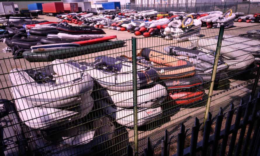 Storage yard in Dover is filled with the dinghies, ribs and rowing boats