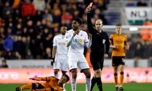 Leroy Fer is sent off by referee Anthony Taylor.
