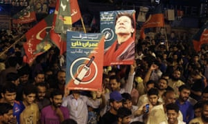 Imran Khan's supporters celebrate the projected results in Islamabad, Pakistan.