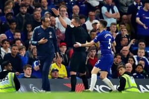 Maurizio Sarri is sent off in the 2-2 draw with Burnley.