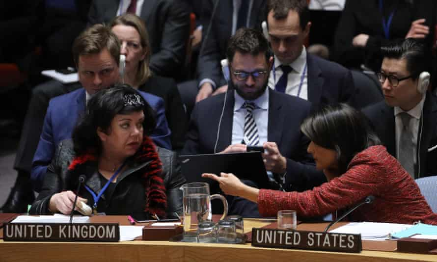 Nikki Haley (right), US ambassador to the UN and Karen Pierce, UK ambassador to the UN, during a security council meeting on 10 April 2018 on suspected chemical attacks in Douma, Syria