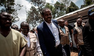 Former health minister Oly Ilunga visits an Ebola treatment centre in Butembo, in March 2019