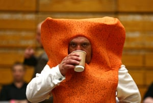 Local candidate Mr Fishfinger waits as ballot papers are counted in Westmorland and Lonsdale