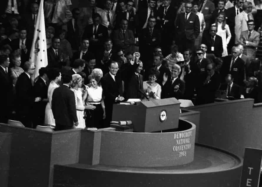 On the last night of the convention, after winning the Democratic nomination, Hubert Humphrey, left, introduces his choice for candidate for VP, Edmund Muskie, right.
