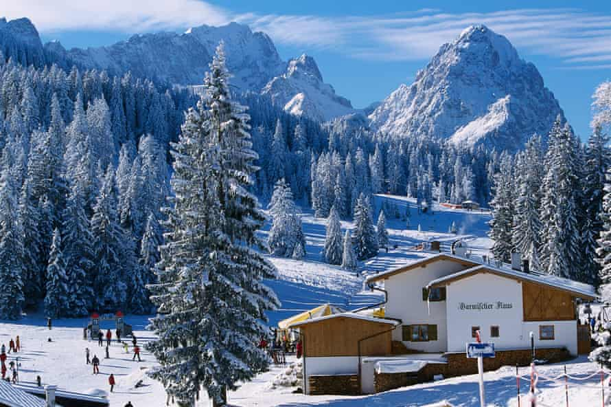 A snowy scene of Garmisch-Partenkirchen in Germany.