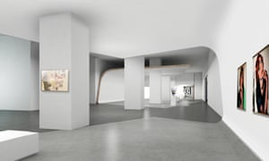 Artist's impression, by MET Studio Design, of an interior at the Museum of Modern and Contemporary Art in Nusantara (Museum MACAN) in Jakarta, Indonesia. There is a grey marbled floor and smooth white walls with colourful portraits on the walls.
