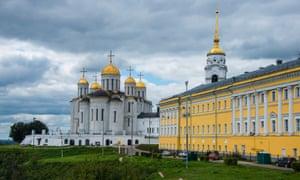 The orthodox cathedrals on Vladimir's Bolshaya Moskovskaya Street, Russia.