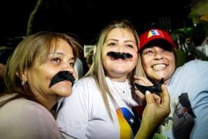 Supporters celebrate Nicolás Maduro's re-election as president in Caracas, Venezuela