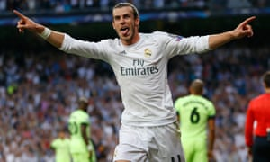 Gareth Bale celebrates Real Madrid's winner.
