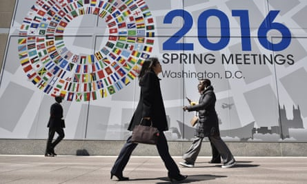 Banner announcing the 2016 spring meetings of the IMF and World Bank in Washington DC