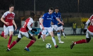 Nathan Broadhead, pictured in action for Everton's reserves against Arsenal, scored twice in the Merseyside Reserve Derby against Liverpool.