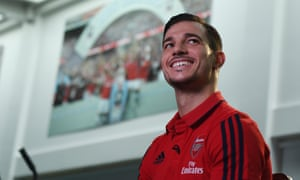 Cedric Soares poses for the cameras at Arsenal's training ground.