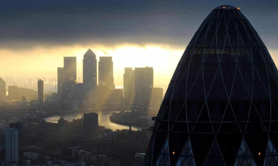 City of London looking towards Canary Wharf at sunrise