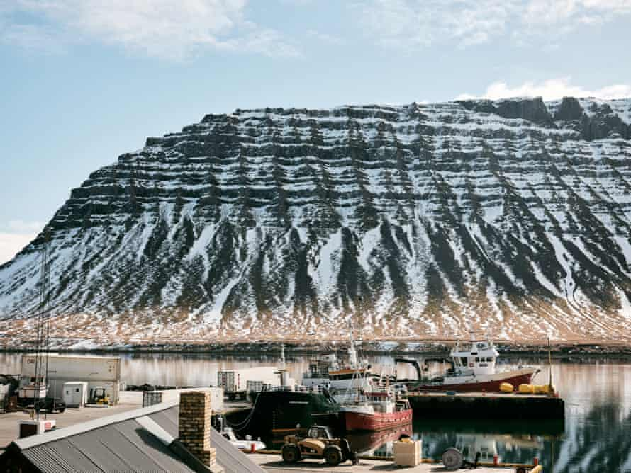The port at Bildudalur, a fishing village situated in Arnarfjordur, in Iceland's remote Westfjords region. Hundreds of new jobs in the region are expected over the next few years as a five-fold increase in fish farm expansion takes place.