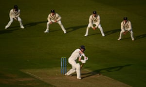 Nick Gubbins of Middlesex plays a shot in the closing stages of Friday's play.