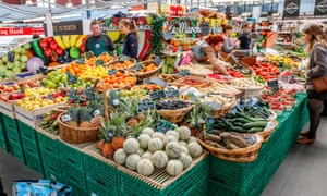 Pick of the bunch: a stall with colourful fruit and vegetables at the Wazemmes Market. It is one of Lille's largest markets.